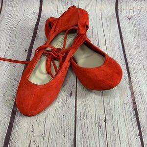 1.State Skylar Casual Red Ankle Tie Suede Ballet F